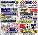 Feed & Seed Signs -- HO Scale Model Railroad Building Accessory -- #157
