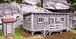 Joe's Cabin & Outhouse Building Kit -- HO Scale Model Railroad Building -- #2000