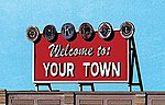 Welcome to Your Town Billboard Kit - HO Scale Model Railroad Billboard -- #2528