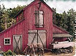 The Barn at Jackson Corners - w/Horse & Wagon - Kit -- HO Scale Model Railroad Building -- #502
