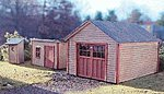 Garden Shed, 1-Stall Garage, & Outhouse Laser-Art Kit -- HO Scale Model Railroad Building -- #635