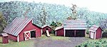 Farm Outbuilding Set Laser-Art Kit (5) -- HO Scale Model Railroad Building -- #651