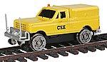 Hi-Rail Pickup Truck w/Cap CSX (yellow) -- HO Scale Model Train Passenger Car -- #1915