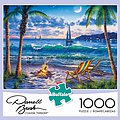 Darrell Bush- Coastal Twilight Puzzle (Beach, Campfire, Chairs, Night Scene) (1000pc)