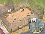 Fenced Basketball Court -- HO Scale Model Railroad Building Accessory -- #1057