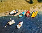 Boat/Raft Set w/Trailer - Kit - 4 Boats, 1 Raft -- HO Scale Model Railroad Vehicle -- #1157
