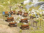Wooden Outdoor Furniture Set - Kit -- HO Scale Model Railroad Building Accessory -- #1484