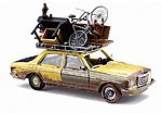 1977 Mercedes Benz W123 Sedan With Overloaded Roof Rack -- HO Scale Model Railroad Vehicle -- #46858