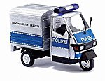 2006 Piaggio Ape 50 3-Wheel Pickup Mettmann Police -- HO Scale Model Railroad Vehicle -- #48462