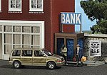 Complete Miniature Scene - Bank Robbery -- HO Scale Model Railroad Figure -- #7701