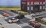 Flexible Paved Intersection - White Markings -- HO Scale Model Railroad Road Accessory -- #9712