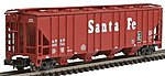 52' 4-Bay Covered Hopper Santa Fe -- N Scale Model Train Freight Car -- #1731
