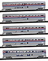5-Car Set Amtrak phase III -- N Scale Model Train Passenger Car -- #40672