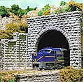Tunnel Portal -- Cut Stone Double Track 3-1/2 x 3-29/32'' 8.7 x 9.7cm pkg(2) - N-Scale