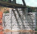 Cut Stone Stepped Wall -- 5.5 x 2.125'' pkg(2) - N-Scale