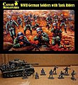 WWII German Soldiers with Tank Riders -- Plastic Model Military Figure -- 1/72 Scale -- #77
