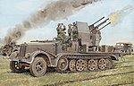 SdKfz 7/1 w/2cm Flak 38 Sturer Emil -- Plastic Model Halftrack Kit -- 1/35 Scale -- #6525