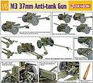 US M3 37mm Anti-Tank Gun -- Plastic Model Artillery Kit -- 1/6 Scale -- #75029