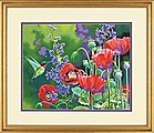 Hummingbird and Poppies -- Paint By Number Kit -- #73-91443