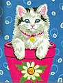 Flower Pot Kitten -- Paint By Number Kit -- #91367