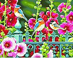 Hollyhock Gate (Flowers/Birds) -- Paint By Number Kit -- #91490