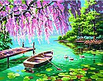 Willow Spring Beauty (Rowboat/Pond) -- Paint By Number Kit -- #91491