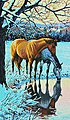 Reflections (Horses/Pond Snow Scene) -- Paint By Number Kit -- #91492