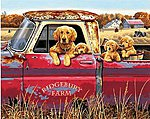Golden Ride (Dogs in Pickup Truck) -- Paint By Number Kit -- #91525