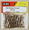 T-Pins, Nickel Plated, 1-1/4'' (100)