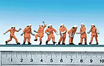 Emergency Workers Firemen w/Orange Uniforms (Action Poses) -- HO Scale Model Figures -- #151036