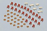 7 Tables and 48 Chairs -- HO Scale Model Railroad Accessory -- #180438