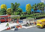 Modern Bus Shelters (2) & Bicycle Racks (2) -- HO Scale Model Railroad Accessory -- #180553