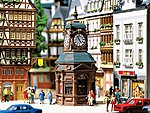 Four-Face Clock Tower with Newstand -- HO Scale Model Railroad Building -- #180583