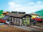 2-Stall Stone Engine Shed -- N Scale Model Railroad Building -- #222116