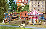 Fun Fair Set w/Motorized Carousel & Game Booths Kit -- N Scale Model Railroad Accessory -- #242301