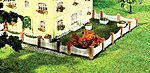 Masonry Posts & White Fencing -- N Scale Model Railroad Building Accessory -- #272409