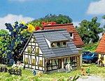 Half-Timbered House with Blue Roof -- Z Scale Model Railroad Building -- #282760
