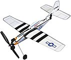 11'' Wingspan P51 Mustang Rubber Band Pwd Wood Glider Kit