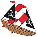 42''x25'' Pirate Ship 3-D Nylon Kite -- Single-Line Kite -- #960