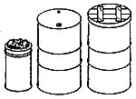 55-Gallon Drums, Fire Barrel Lids & Spike Cans (3) -- O Scale Model Railroad Building Acc -- #3013