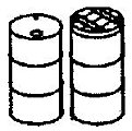 55 Gallon Drums & Lids (12) -- HO Scale Model Railroad Building Accessory -- #5041