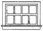 Horizontal Siding Window (8) -- HO Scale Model Railroad Building Accessory -- #5081