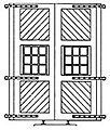 6'6''x14'6'' Engine House Doors & Hinges (4) -- HO Scale Model Railroad Building Accessory -- #5102