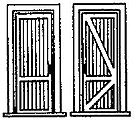 Door w/Frame 2 Tongue & Groove Panels (3) -- HO Scale Model Railroad Building Accessory -- #5131