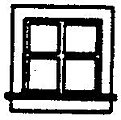 4 Pane Single Sash Window (4) -- HO Scale Model Railroad Building Accessory -- #5239