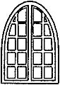20 Pane Arched Window (8) -- HO Scale Model Railroad Building Accessory -- #5256