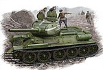 T-34/85 Russian 1944 Flat Turret -- Plastic Model Military Vehicle Kit -- 1/48 Scale -- #84807