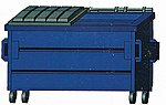 Trash Dumpster Blue 3/ - HO-Scale (3)