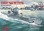 U-Boat Type IIB German Submarine 1943 -- Plastic Model Submarine Kit -- 1/144 Scale -- #10