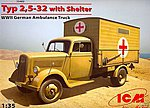WWII Type 2,5-32 German Ambulance Truck -- Plastic Model Military Truck Kit -- 1/35 -- #35402